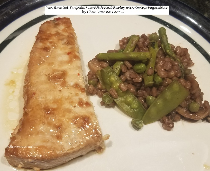 Pan Roasted Teriyaki Swordfish and Barley with Spring Vegetables (2)